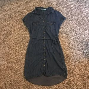 Maurice's button up denim dress with waist tie